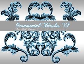 對稱的古典花紋筆刷